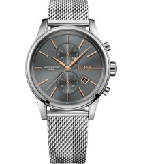 boss hugo boss men's chronograph jet stainless steel mesh bracelet watch 41mm 1513440