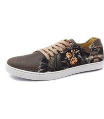 tênis click calçados sapatênis em couro cafe com tecido floral