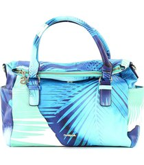 bolsa sacola desigual color block azul/off-white