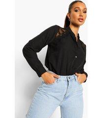 blouse met kanten schouders, black