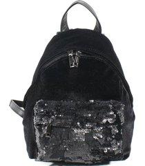 mochila terciopelo lentejuelas negro mailea