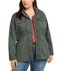 style & co plus size cotton utility jacket, created for macy's