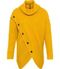 maglione asimmetrico con fondo asimmetrico e bottoni in simil corno (giallo) - rainbow