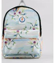 mochila feminina blueman estampada floral paraíso com alças reguláveis verde água