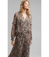 blusa mujer manga larga estampada multicolor esprit