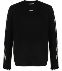off-white diagonal-stripe pattern long-sleeve top - black