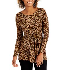 charter club leopard-print tie top, created for macy's