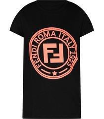 fendi black girl t-shirt with neon pink logo