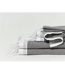 coyuchi mediterranean bath 6-piece organic cotton towel set, size bath sheet - grey