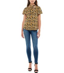 women's flutter sleeve top with bow tie at neck