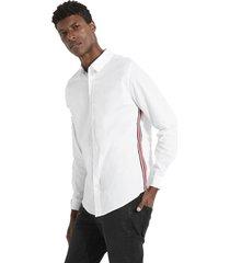 camisa ls poplin side stripe shirt blanco guess