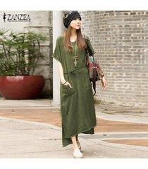 zanzea verano dresss ocasional de las mujeres de lino de algodón vestido de split asimétrico maxi largo vestidos más el tamaño s-5xl (verde del ejército) -verde