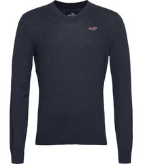 hco. guys sweaters stickad tröja v-krage blå hollister