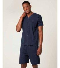 pijama em malha com bordado malwee liberta azul escuro - m
