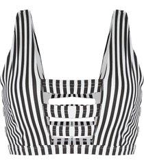 onia kiki striped cage bikini top - black