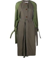 loewe contrasting raglan sleeve coat - green
