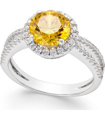 yellow swarovski zirconia halo ring in sterling silver
