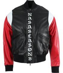 multicolored logo leather bomber jacket
