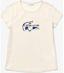 camiseta lacoste regular fit branco - branco - menina - dafiti