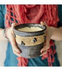 doniczka szara ciemna osłonka ceramiczna