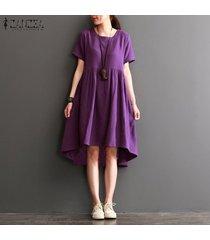 zanzea vestido de fiesta de fiesta de playa con cuello en v y acampanado de algodón para mujer -púrpura