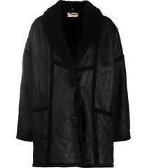 a.n.g.e.l.o. vintage cult 1980s loose-fit sheepskin coat - black