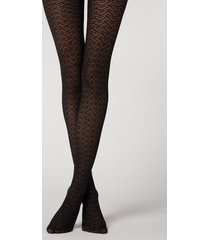 calzedonia geometric pattern invisible tights woman black size 3