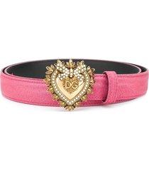 dolce & gabbana devotion buckled belt - pink