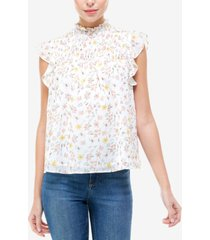 q & a printed smocked mock-neck top