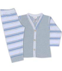 conjunto pijama bebê com botões listrado gelo - look infantil