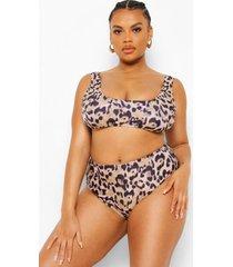 mix & match plus luipaardprint bikini top, brown