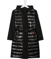 moncler enfant padded body logo belt coat - black