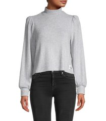 calvin klein jeans women's puff-sleeve top - pearl heather grey - size s
