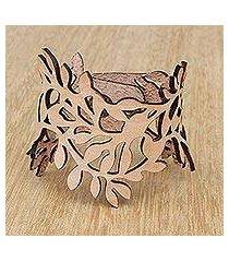 leather wristband bracelet, 'brazilian foliage in almond' (brazil)