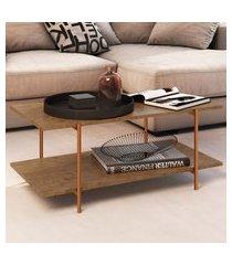 mesa de centro artesano tube 2 prateleiras vermont e cobre