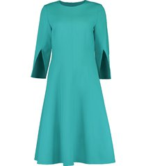 split elbow sleeve double face dress
