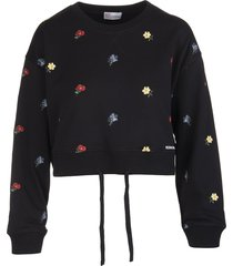 red valentino black sweatshirt with delicate flowers embroidery