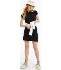 tommy hilfiger women's organic cotton slim fit polo dress black - m