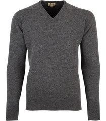 william lockie lamswollen trui grijs melange vhals