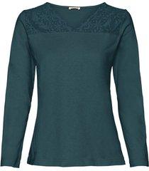 shirt met kant, smaragd 48