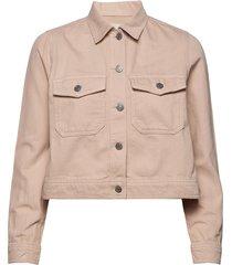 slfelli ls light pink denim jacket w jeansjack denimjack beige selected femme