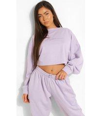 woman korte geborduurde sweater, lilac