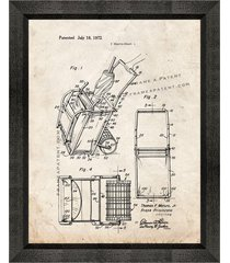 beach cart patent print old look with beveled wood frame