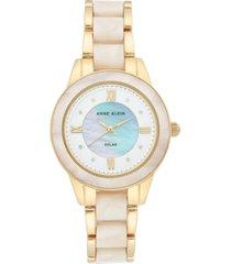 anne klein women's considered solar-powered gold-tone & cream resin bracelet watch 34mm
