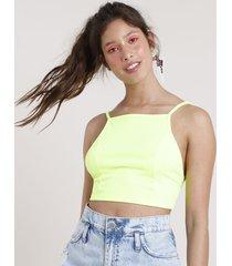 top cropped feminino carnaval frente única canelado sem bojo amarelo neon