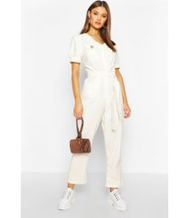 cord puff sleeve ankle grazer jumpsuit, ivory