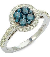 14k white gold, white & blue diamond ring