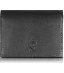 pineider designer small leather goods, power elegance double black leather card holder