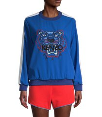 kenzo women's embroidered tiger sweatshirt - french blue - size xs