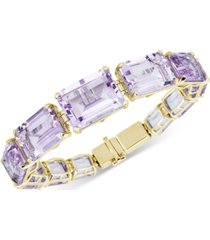 amethyst (90-7/8 ct. t.w.) & white topaz (1/2 ct. t.w.) link bracelet in 14k gold-plated sterling silver
